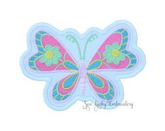 Butterfly Applique Embroidered Patch , Sew or Iron on
