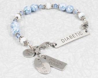 Type 1 Diabetes / Insulin Pump / Type 2 Diabetes / Interchangeable Medical ID Bracelets / Juvenile Diabetes / Blue Marble Bracelet