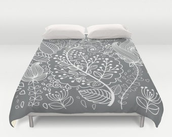 Floral Duvet Cover, Full Queen King, Flower Pattern Bedding, Gray Bed Cover, Modern Bedding, Grey Floral Comforter, Gray Elegant Bedding