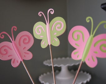 Butterfly Centerpieces, 9 Pieces, First Birthday, Butterfly Birthday, Butterfly 1st Birthday, Pink and Green
