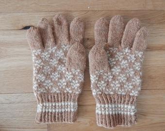 Wool Gloves Handmade Retro Knitted Men Gloves  Made in USSR