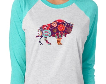 Bison Buffalo Baseball Sleeve Women's Shirt T-Shirt in Pink Blue Purple or Teal Sleeves with Paisley Design