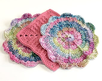 Rainbow & Coral Eco-Friendly Crochet Dishcloth Set