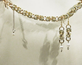 Byzantine Link Bracelet and Earring Set