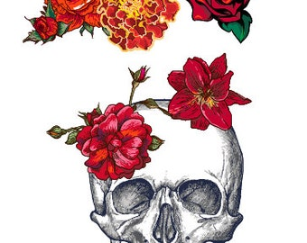 Half a4 sheet of temporary tattoos halloween day of the dead roses skulls flowers