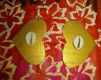 Golden Heart Earrings w/Cowry Shells