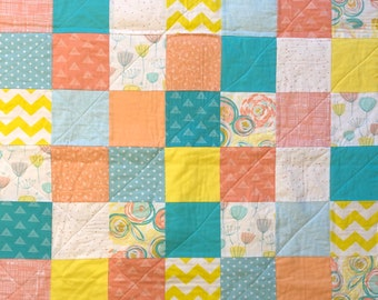 Baby Quilt - Green, Coral, Yellow, White - Modern Baby Quilt - Floral