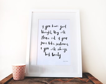 If you have good thoughts - Roald Dahl / A4 quote poster