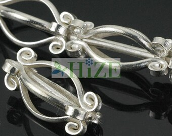 HIZE SB223 Thai Karen Hill Tribe Silver Fancy Baroque Tube Focal Beads 22x9mm (4)