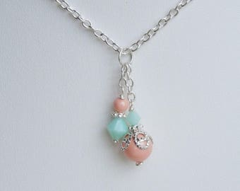 Coral and Mint Bridesmaids Necklace - Dangle Cluster Pendant - Crystals and Pearl Wedding Jewelry - Earrings Bracelet Set Available