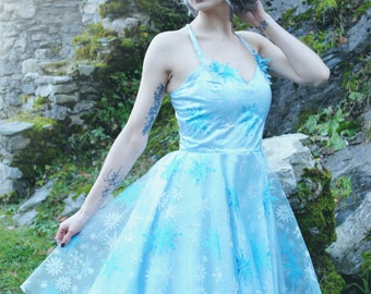 Dress blue snowflakes and glitter - Retro / pinup - Ice Queen - all sizes