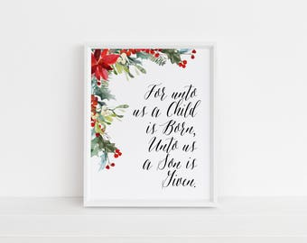 for unto us a child is born printable · isaiah 9:6 wall art print · christmas bible verse · scripture wall decor · watercolor christmas sign