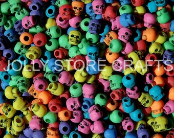 Multi Circus colors Skull Beads 100pc, for paracord crafters jewelry makers