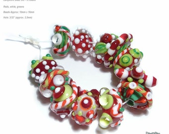 HOLLY JOLLY CHACHA Lampwork Beads Handmade Holiday color Mix Red Green White Set of 12