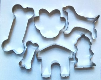 6 pcs Dog Theme Cookie Cutter Set Paw Kennel Dog Bone Fire Hydrant Fondant pastry Biscuit Baking Mold Set