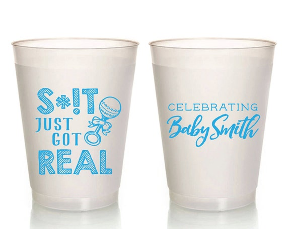 Baby Shower Cups Shit Just Got Real Baby Shower Favors New