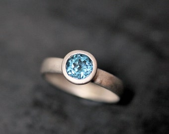Swiss Blue Topaz Ring, Faceted Gemstone December Birthstone Ring Brushed Recycled Sterling Silver Ring  - Ready to Ship in US Size 7.5