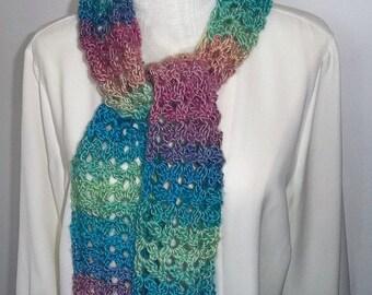 Crochet  Scarf - Lightweight Long Scarf - Fashion Scarf - All Season Scarf - Multicolor Scarf - Accessories - Gift Idea