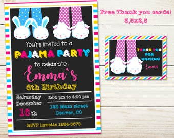 Slumber invitation Pajama party birthday invitation Sleepover invitation Slumber party supplies Boy Girl birthday outfit Thank you cards tag