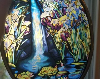 Vintage Glass Masters Sun Catcher Lily Pads Water Fall and Flowers 1980s Made in the USA 1989 Louis C. Tiffany