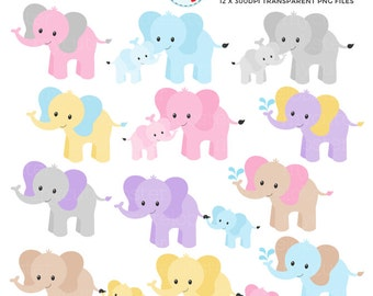 Elephants Clipart Set - clip art set of colorful elephants, cute elephants, baby - personal use, small commercial use, instant download