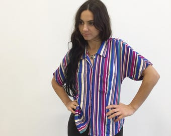 Vintage 80s Striped Batwing Shortsleeve Blouse - Multicolor - Button down - Size Small S - Medium M