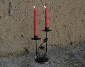 Metal Candlestick Holder,Black Candelholder,Metal Leaves Candlestick,Gothic Home Decor,Cold War Gift,Past Century Gift,Metal Home Decoration