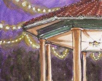 Washington Park Watercolor Print, Cincinnati, Ohio