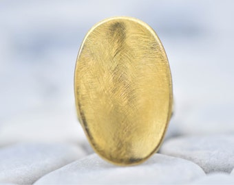 14k Gold Oval Brushed Finish  Ring