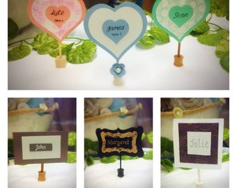 100 x Place cards / name cards with wooden stand for weddings / events. You choose shape and colour- mint green,grey, purple,pastel, kraft