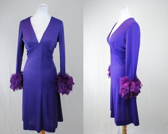 1970s Feather Cuff Dress // Vintage Feathered Dress // 70s Party Dress // Vintage Party Dress // 70s Purple Long Sleeve Dress / Witchy Dress