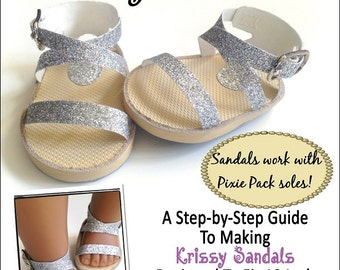 Pixie Faire Miche Designs Krissy Sandals 18 inch Doll Shoe Pattern for American Girl Dolls - PDF