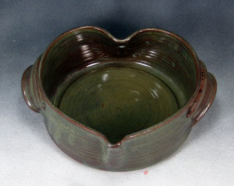 Pottery Casserole Dish Green Small Heart Shaped Casserole Handthrown Stoneware Pottery 4