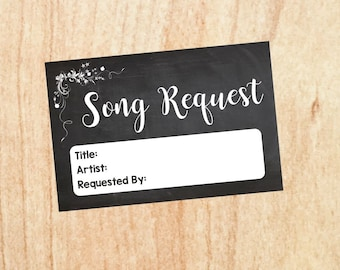 Song Request card wedding chalkboard PRINTABLE  digital instant download song requests signs