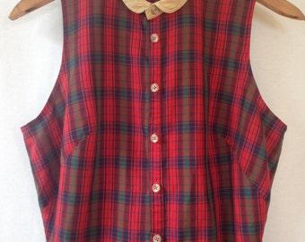 1980s does 1960s red plaid shirtwaist dress by CARGO - ALAN ZAITZ size 10
