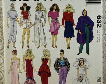 """McCall's 632, Same as McCall's 4400, Fashion Doll Clothes Sewing Pattern, Barbie Clothes Sewing Pattern, 11-1/2"""" Doll Clothes Pattern, Uncut"""