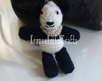 Panda keychain, knitted, bag charm, cute, novelty, collectable, For her