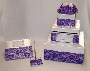 Elegant Custom made Wedding Card Box Lace design-any colors