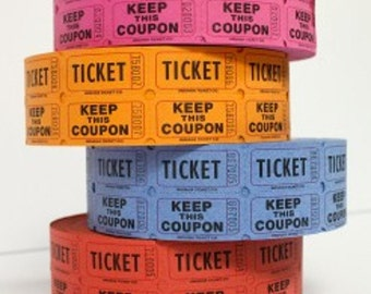 raffle tickets  2 part  100  mixed color tickets,  100 tickets