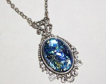 Turquoise blue fire opal necklace sea blue fire opal necklace pendant blue opal victorian jewelry gift aloadofball Choice Image