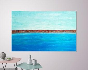 Extra Large Ocean Painting, Coastal Wall Art, Large Modern Ocean Painting, Extra Large Abstract Ocean Painting, Seascape Painting, 30x48x1.5