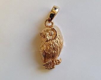 Small Owl Gold Pendant