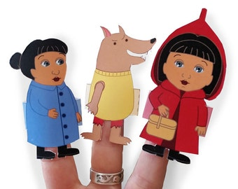 Little Red Riding Hood - Finger Puppets - Play Set - PDF Download -