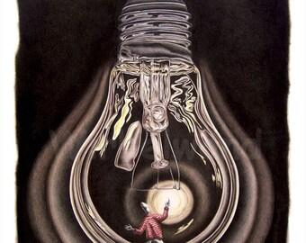 Kunstdruck einer Buntstiftzeichnung - Blackout (53 x 67 cm)