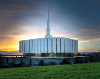 Provo Utah Temple with sunset