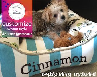 X-Small Dog Bed - Cute Honey Bear Macon Fabric | Mantis/Macon, Canopy Coastal Blue, Denton | Washable & High Quality