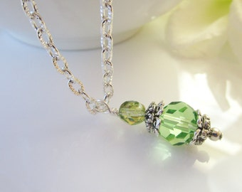 Bridesmaid Necklace, Bridesmaids Jewelry, Peridot Necklace, Green Bridesmaid Jewelry,Beaded Necklace, Meadow, Peridot Jewelry, Green