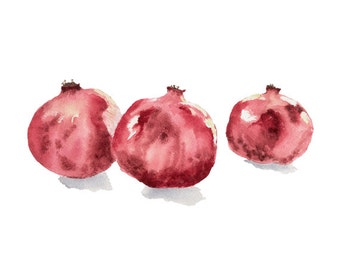 Pomegranate Print From My Original Watercolor, Pomegranate Wall Art, Food Watercolor Wall Art Print, Garnet Home Decor Wall Art Print