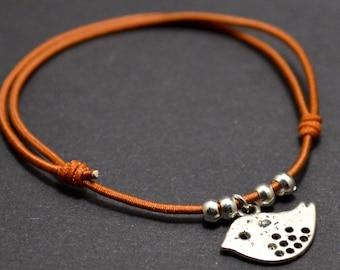 Bird brown cord bracelet