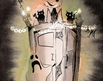 Illustration Halloween (print of original watercolor painting)